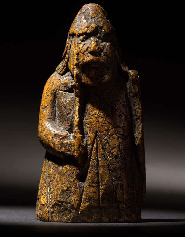 Probably Norwegian, Trondheim, 13th century. A Lewis chessman, a warder, estimate £600,000-1,000,000. Photo Credit: Sotheby's auction.