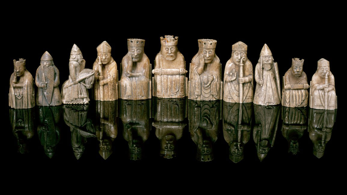 Lewis chess pieces at the National Museum of Scotland. Photo Credit: © NATIONAL MUSEUMS OF SCOTLAND.