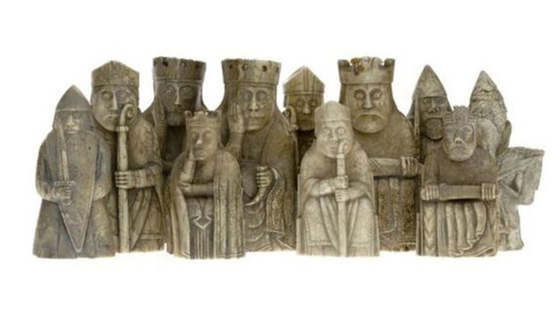 The Lewis Chessmen were found on the Isle of Lewis in 1831 but the whereabouts of five pieces have remained a mystery. Photo Credit: BBC.