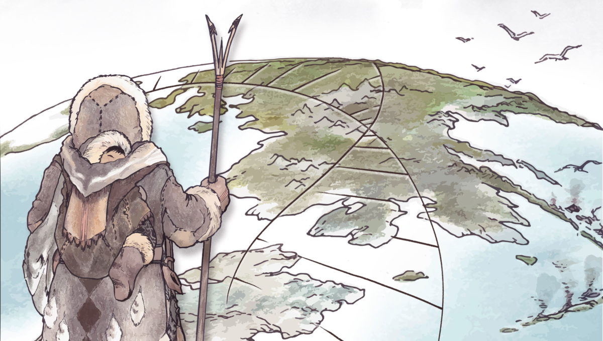 An ancient population of Arctic hunter-gatherers, known as Paleo-Eskimos, made a significant genetic contribution to populations living in Arctic North America today. Credit: Kerttu Majander, Design by Michelle O'Reilly