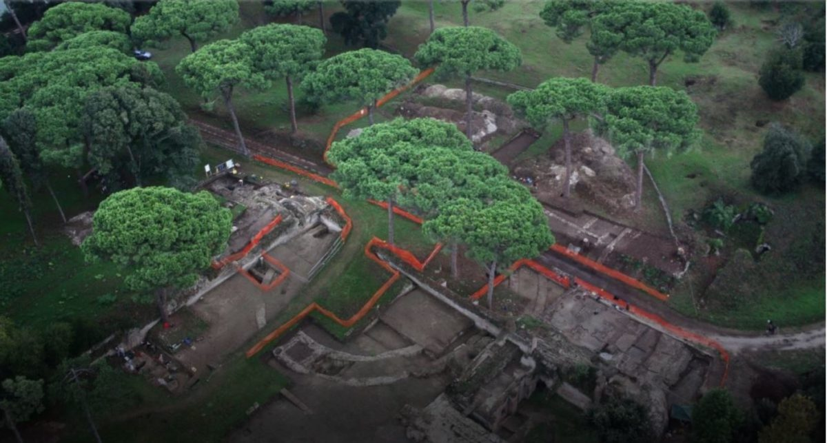 This is an aerial photo of the Portus Project excavations in 2009. Credit: Portus Project