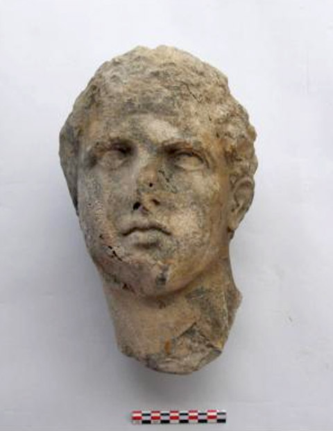 Salamis, Ampelakia Bay. Head of marble statue of young athlete or god, before its conservation, from the end of the Classical era. © C. Marabea.