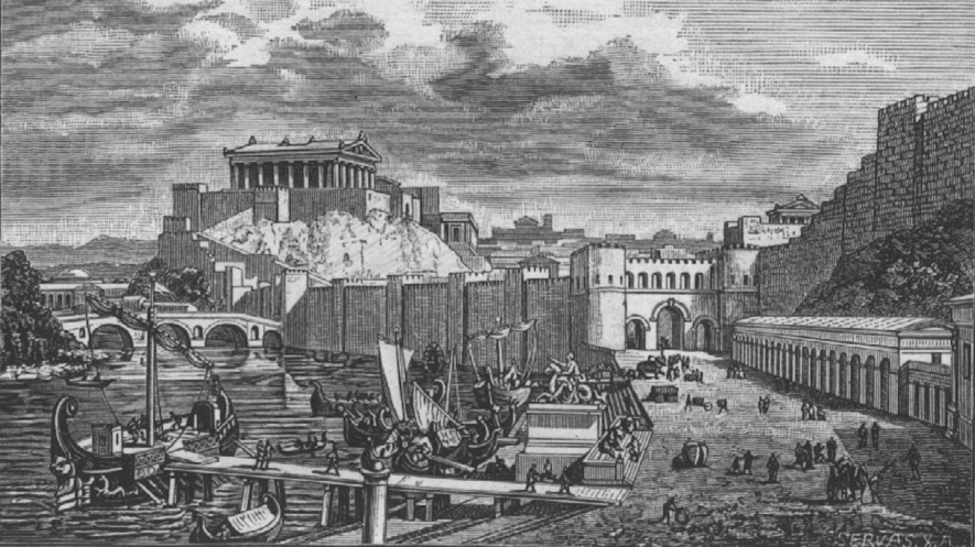 A 19th-century depiction of the temple Temple of Jupiter Optimus Maximus above the Tiber River during the Roman Republic. Photo: Wikimedia Commons/Friedrich Polack. MIDDLE: A map of Ancient Rome. Photo: Wikimedia Commons