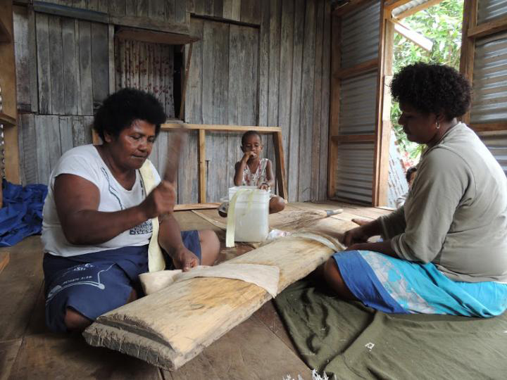 Making barkcloth from paper mulberry bark in Buda village, Viti Levu, Fiji. Credit: A. Seelenfreund
