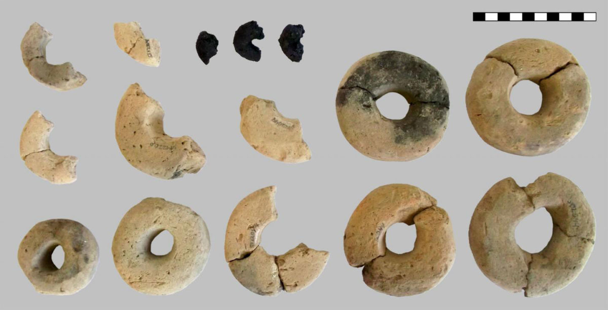 The annular objects from the find assemblage in the debris layer of pit V5400. Credit: Heiss et al, 2019