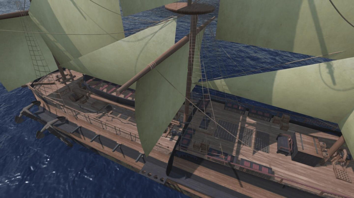 The 3D ship in full sail. Credit: The Trans-Atlantic Slave Trade Database