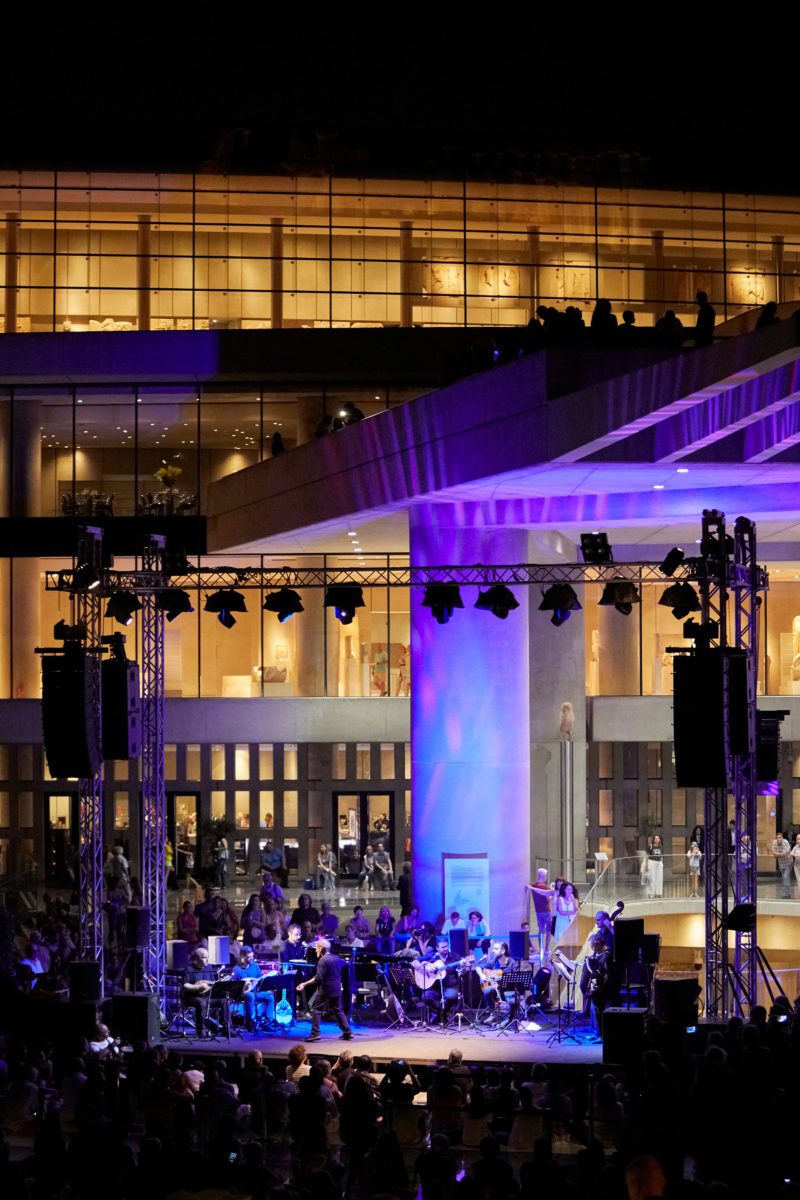 A musical evening at the entrance courtyard of the Acropolis Museum. Photo: Giorgos Vitsaropoulos