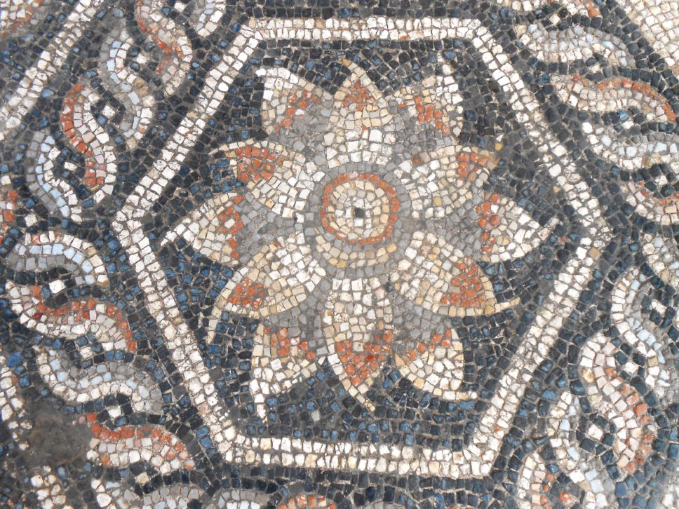 The main square field of this multi-coloured pavement (measuring 2.60 by 2.60 m) is composed of six hexagonal panels featuring lotus flowers, framed by a circular guilloche pattern.