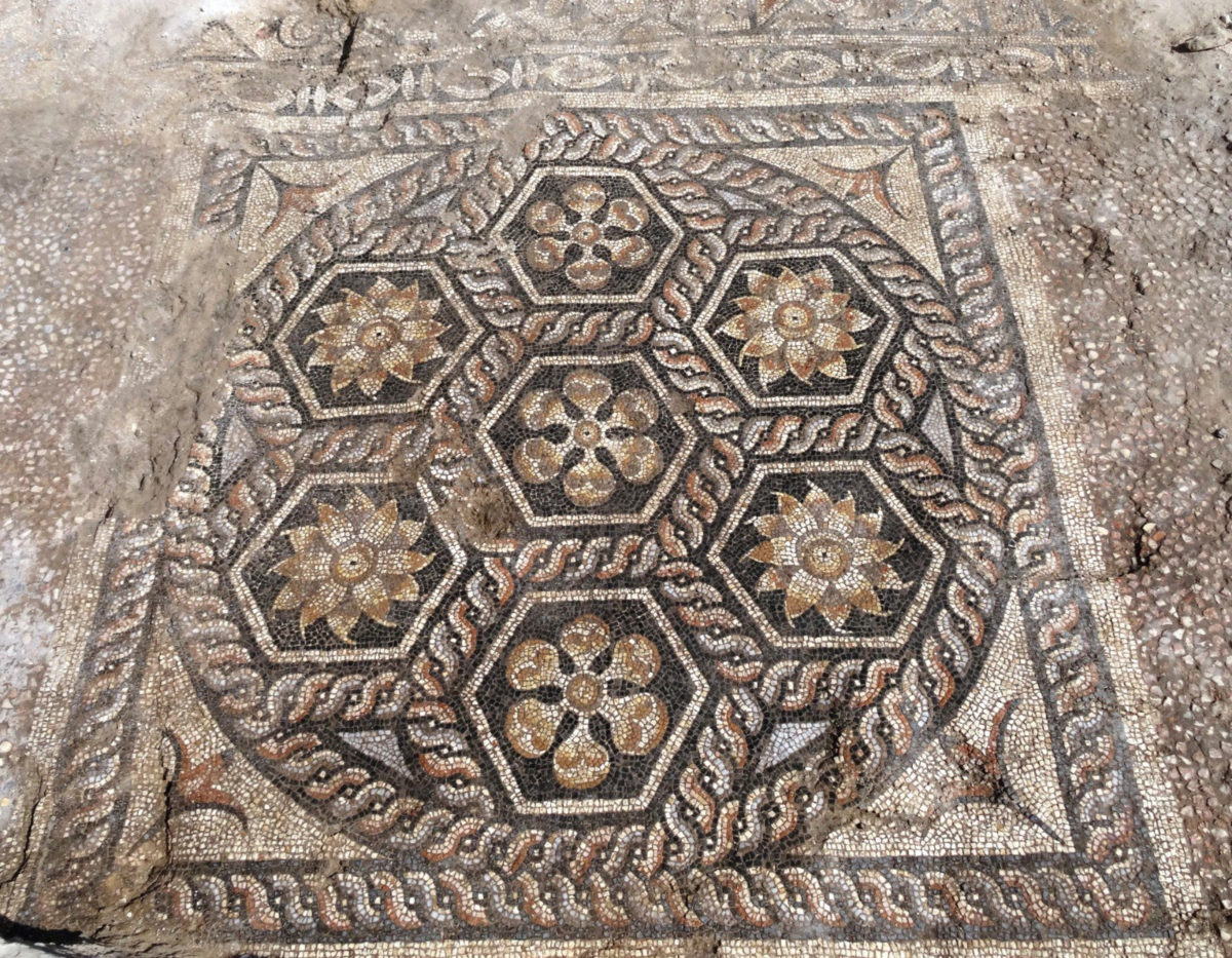 Overall, the design of the mosaic, additionally equipped with a transversal field in front decorated with astragals and rosettes, is typical for the triclinia – the most imposing of the dining rooms in a Roman house.