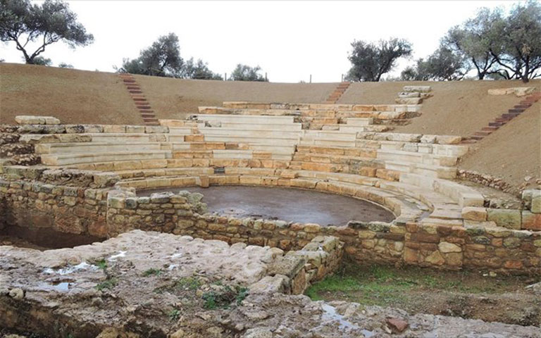 The ancient theatre of Aptera. Photo credit: AMNA