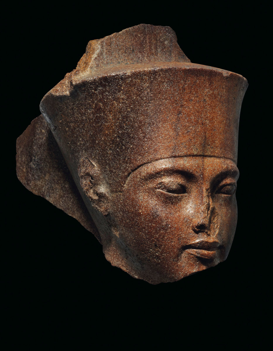 The head bears the distinctive crown of god Amen but the features of Tutankhamun, pharaoh at the time it was constructed. Photo Credit: Christie's.