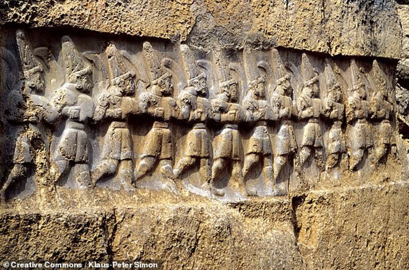 This carving at Yazılıkaya is said to depict 12 gods of the underworld. Photo Credit: WikiCommons/TANN.