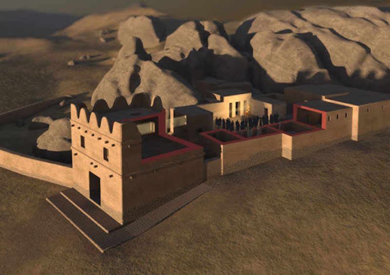 3D-visualization of Building II and III (gatehouse) at Yazılıkaya showing how the object on the pedestal in the courtyard may have been illuminated during a religious service on the day of the summer solstice. Photo Credit: Oliver Bruderer / Luwian Studies/Journal of Skyscape Archaeology.
