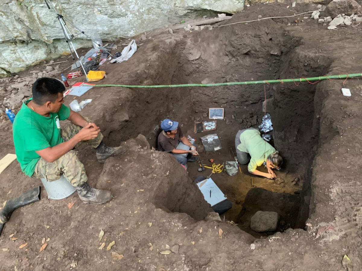 UNM graduate student Paige Lynch conducting excavations at Mayahak Cab Pek in May 2019, part of ongoing UNM research into the earliest humans in the New World tropics. Credit: University of New Mexico