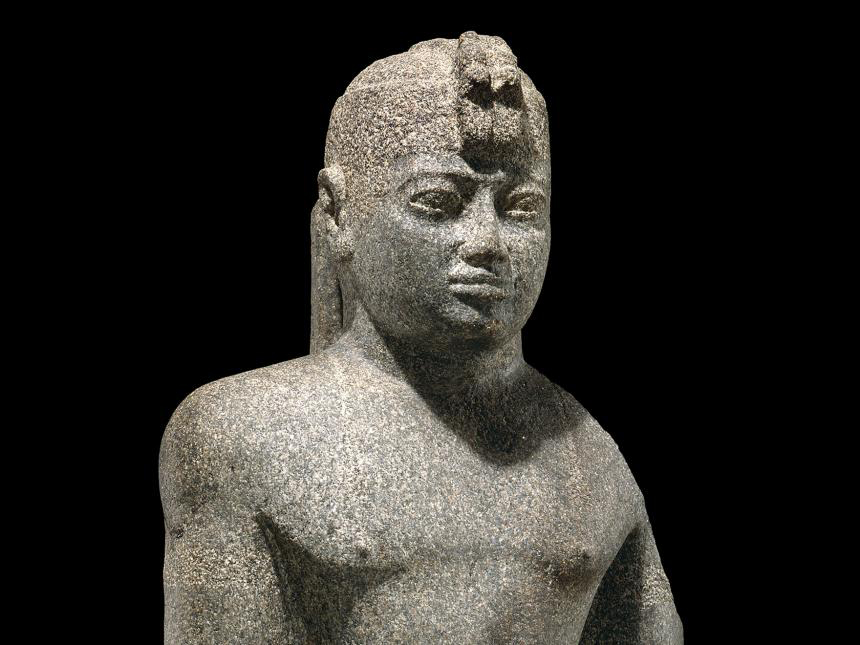 Statue of King Senkamanisken (detail), Nubian, Napatan Period, reign of Senkamanisken, 643–623 BCE. Granite gneiss. Harvard University—Boston Museum of Fine Arts Expedition.