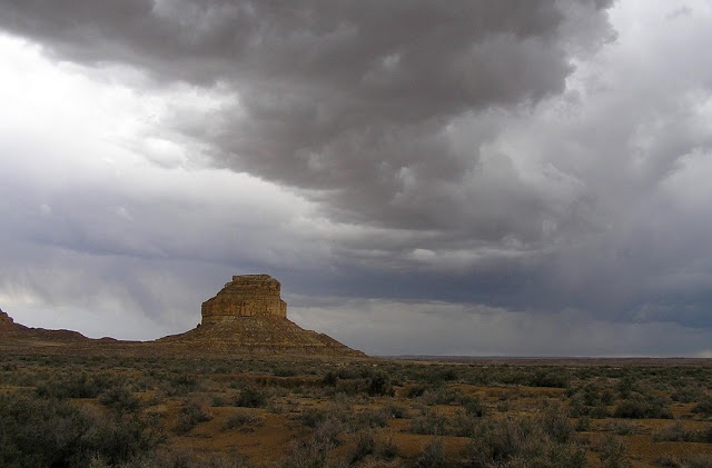 Thunder clouds above Fajada Butte in Chaco Canyon. Credit: National Park Service.