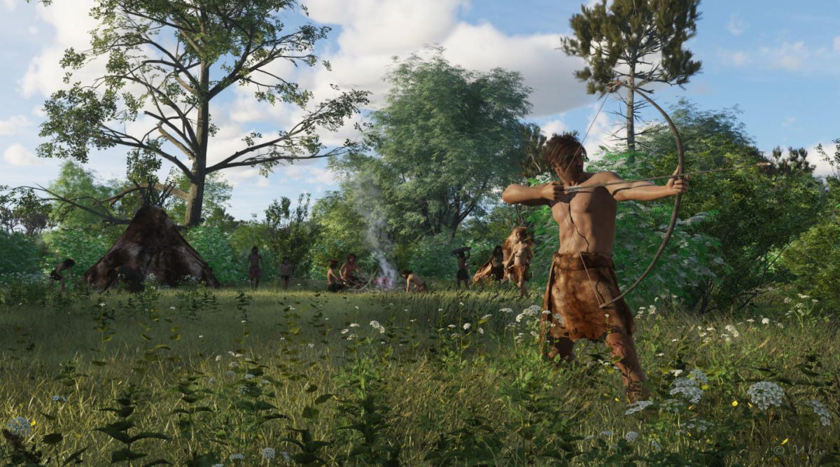 Reconstruction of a Mesolithic camp-site with a hunter in the front ready to fire an arrow mounted with stone microliths. Credit:  Ulco Glimmerveen