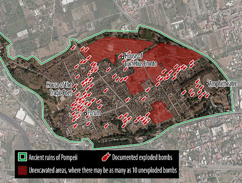 Military excavation teams have searched 44 hectares of Pompeii and identified the remains of 96 Allied bombs (shown as red icons). Another 22 hectares remain to be searched, where experts believe there are at least 10 unexploded devices (shaded red). Photo Credit: Daily Mail.