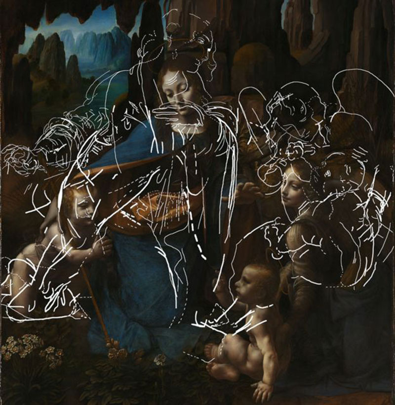 Leonardo da Vinci, 'The Virgin of the Rocks', about 1491/2-9 and 1506-8. Tracing of the lines relating to underdrawing for the first composition, incorporating information from all technical images. Image Credit: The National Gallery, London.