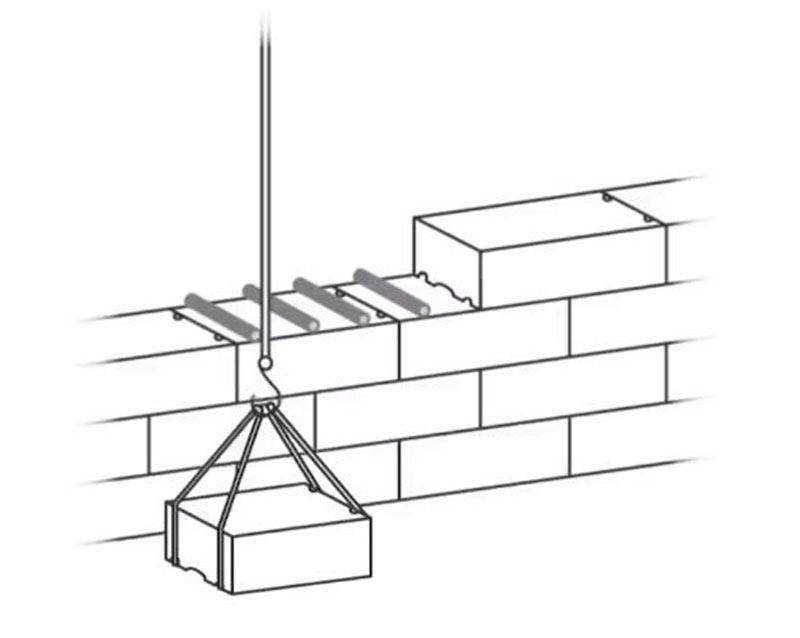 The blocks were lifted with the aid of ropes. Image Credit: University of Notre Dame.