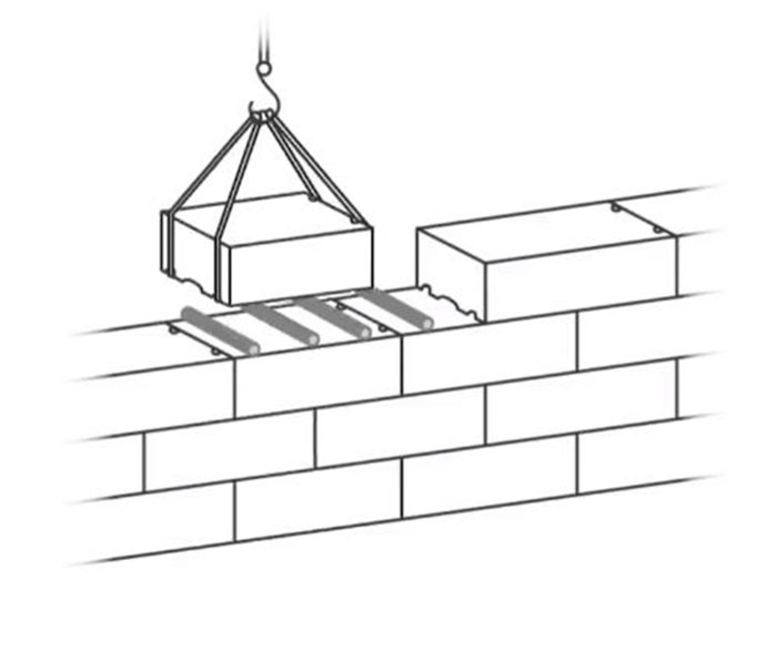 The blocks were placed on rolls adjacent to their neighbours. Image Credit: University of Notre Dame.