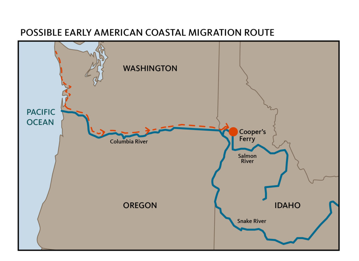 Possible early American Pacific coastal migration route. Image Credit: Teresa Hall, Oregon State University.