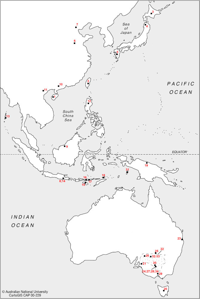 Map with the geographical location of the specimens considered in the craniometric comparison carried out in the research. Image credit: ANU.