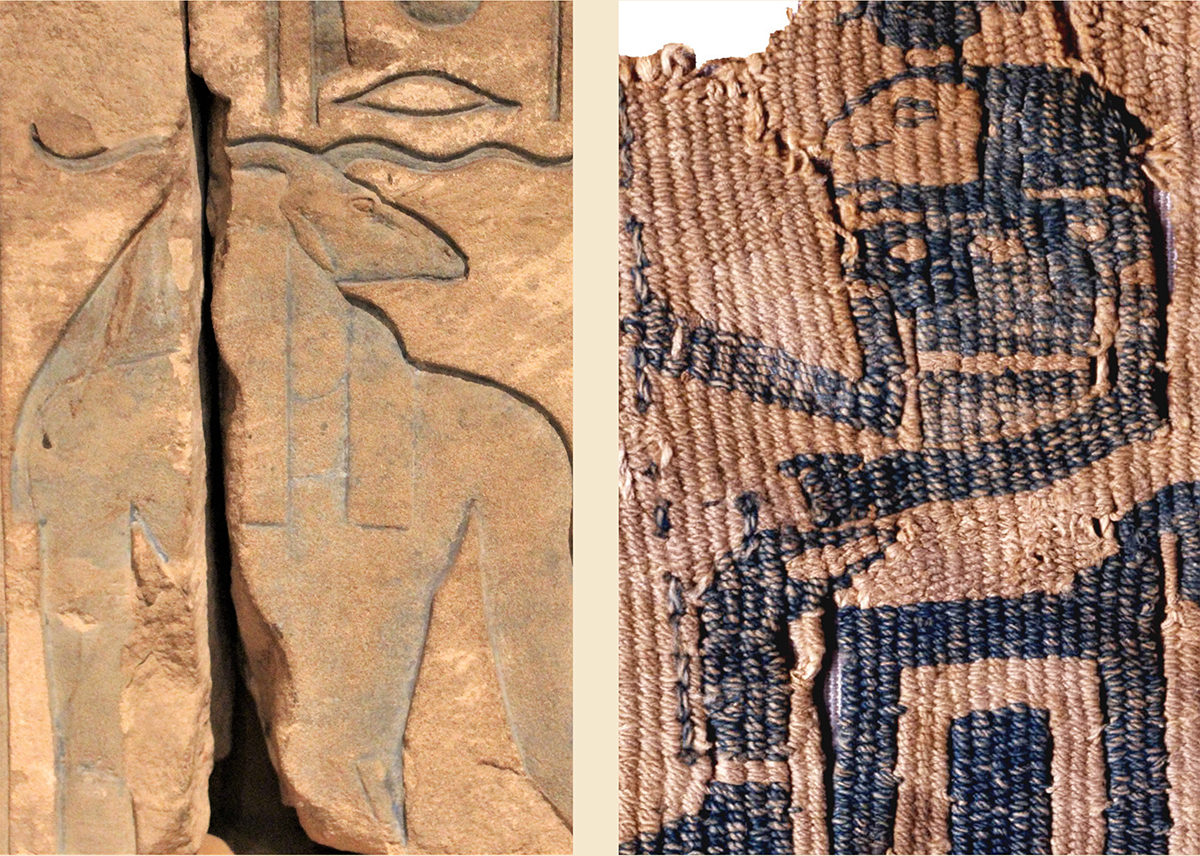 Amun on Kumma temple (Boston Museum of Fine Arts, photo: Elsa Yvanez) and on a tapestry from Qasr Ibrim (© Trustees of the British Museum).