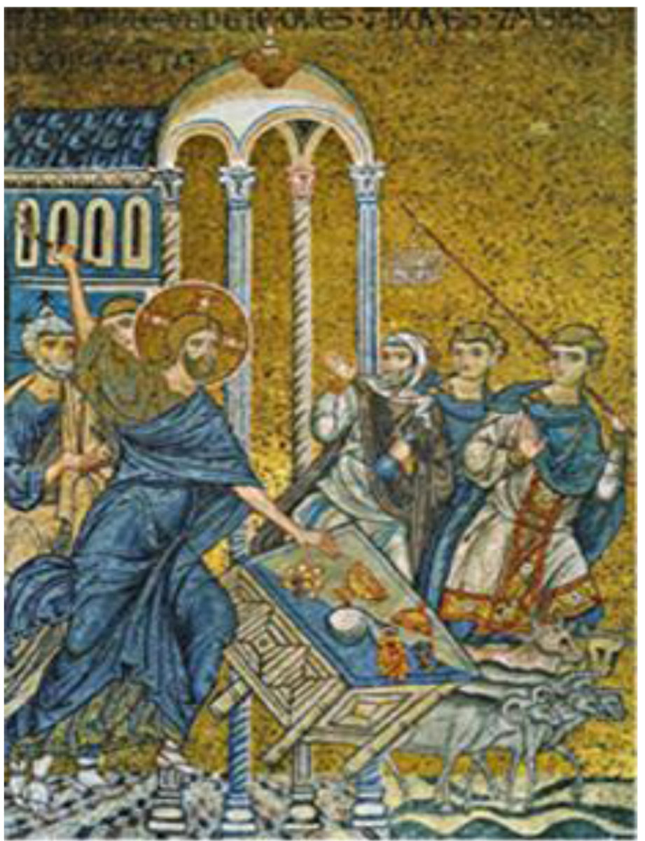 Jesus banishes the μerchants out of the Temple. Byzantine mosaic in the Cathedral of Monreale. Palermo, Sicily.