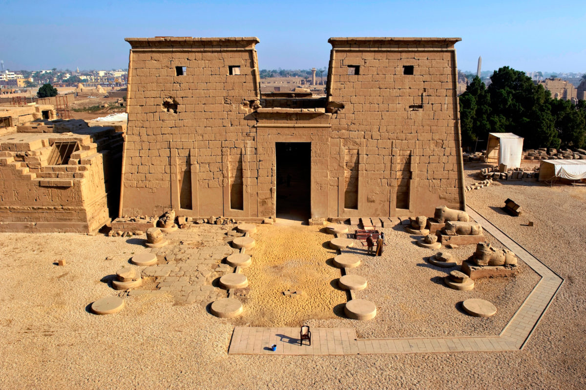 The south facing entrance of Khonsu Temple, located in the Karnak Temple Complex on Luxor's East Bank.