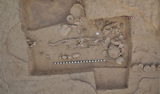 The first sequenced genome from an archaeological site associated with the ancient Indus Valley Civilization came from this woman buried at the city of Rakhigarhi. Credit: Shinde and Narasimhan et al. 2019