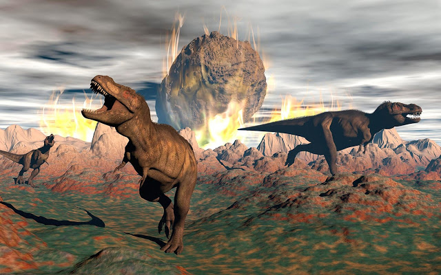 Tyrannosaurus rex dinosaurs escaping the heat and fire of a big meteorite crash. Credit: VCG.