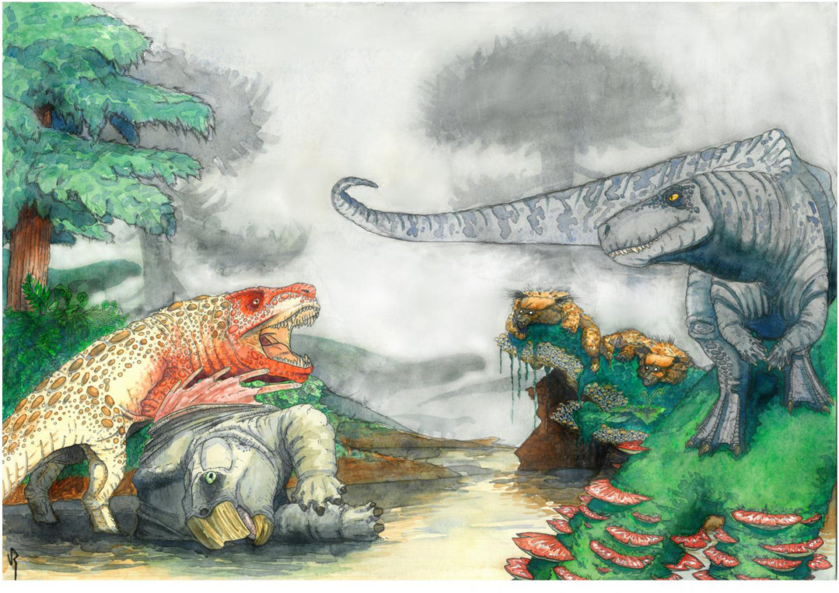 Artist's reconstruction of two rauisuchians fighting over a desiccated corpse of a mammal-relative in the Triassic of southern Africa. In the background, dinosaurs and mammal-like reptiles form other parts of the ecosystem. Credit: Viktor Radermacher, owns copyright