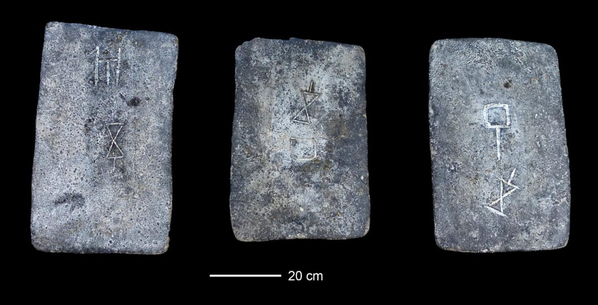 Some of the studied tin ingots from the sea off the coast of Israel (approx. 1300-1200 BCE). Credit: Photo: Ehud Galili