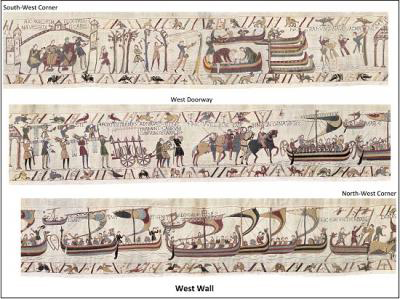 Diagram of the layout of the Bayeux Tapestry as originally displayed in the nave of the cathedral. Credit: Journal of the British Archaeological Association