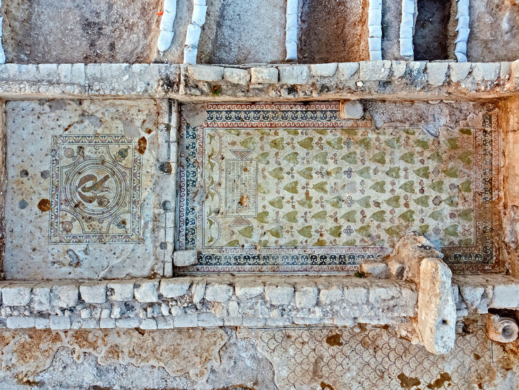 Mosaics uncovered on the church floor. Photo: Assaf Peretz,  Courtesy of the Israel Antiquities Authority.