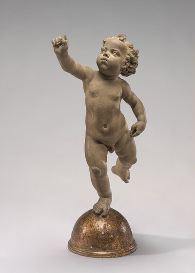 Andrea del Verrocchio, Putto Poised on a Globe, c. 1480, unbaked clay, Andrew W. Mellon Collection, 1937.1.128.
