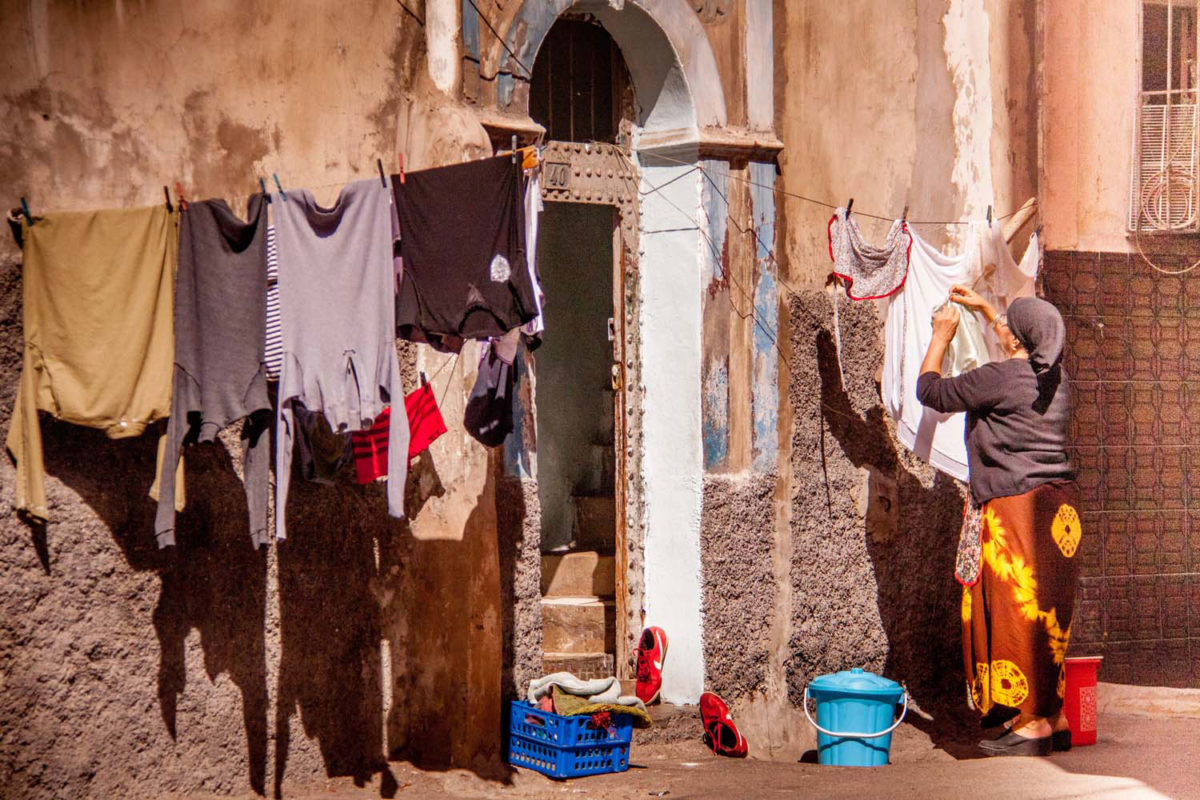Drying clothes in the street is a typical scene in the old part of Casablanca.