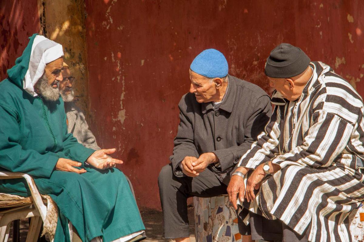 Socialising in the streets of Casablanca.