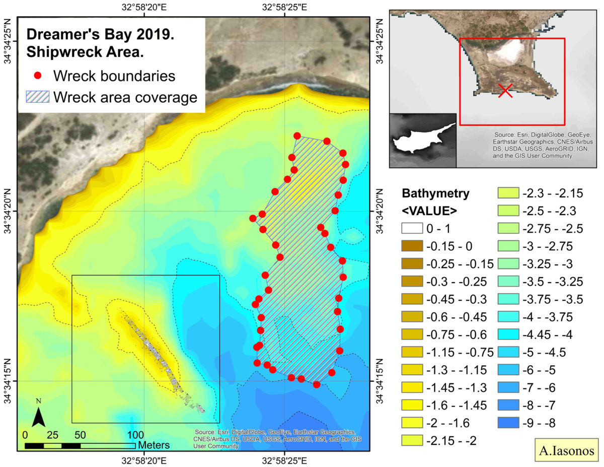 The most important result of the 2019 season was confirmation that the eastern concentration of largely homogenous ceramics located on an elevated, rocky outcrop to the east of the breakwater and the sheltered channel, was indeed a shipwreck.