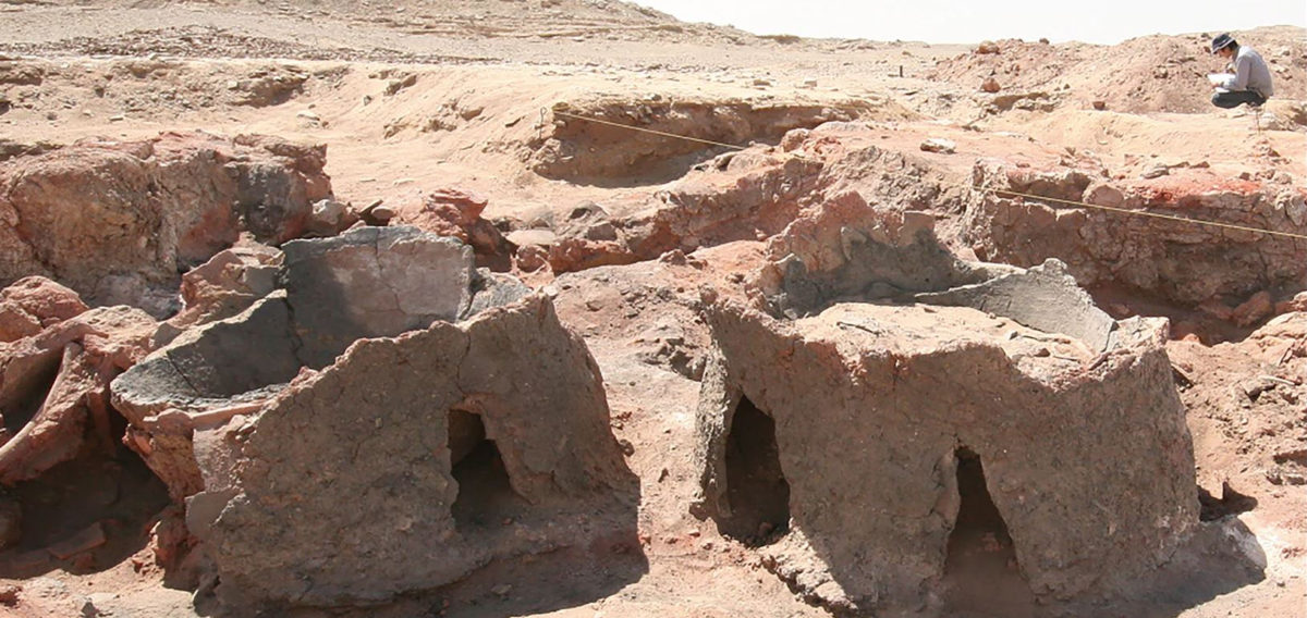 The excavation site at locality HK11C, Hierakonpolis. Vats 1 and 2 viewed from the northeast. Photo by Masahiro Baba.