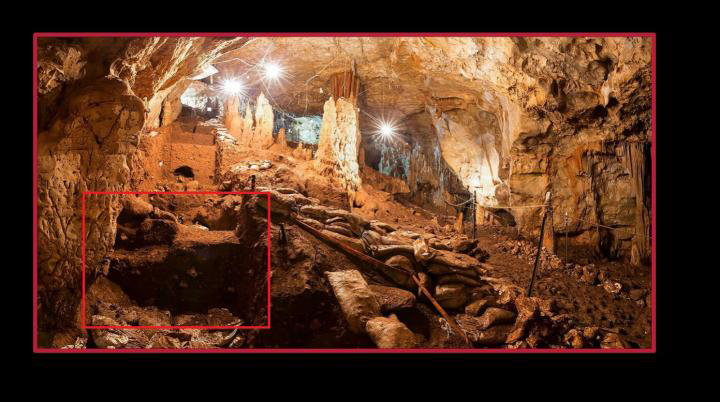 A view of Manot cave and a close up of the area where some of the teeth were found. Credit: Prof. Israel Hershkovitz/American Friends of Tel Aviv University.