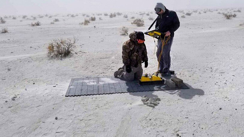 The researchers collecting GPR data at White Sands National Monument in New Mexico. Credit: Cornell University.