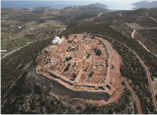 On Sifnos, on the hill of Agios Andreas, a strongly fortified citadel was established during the Mycenaean era.