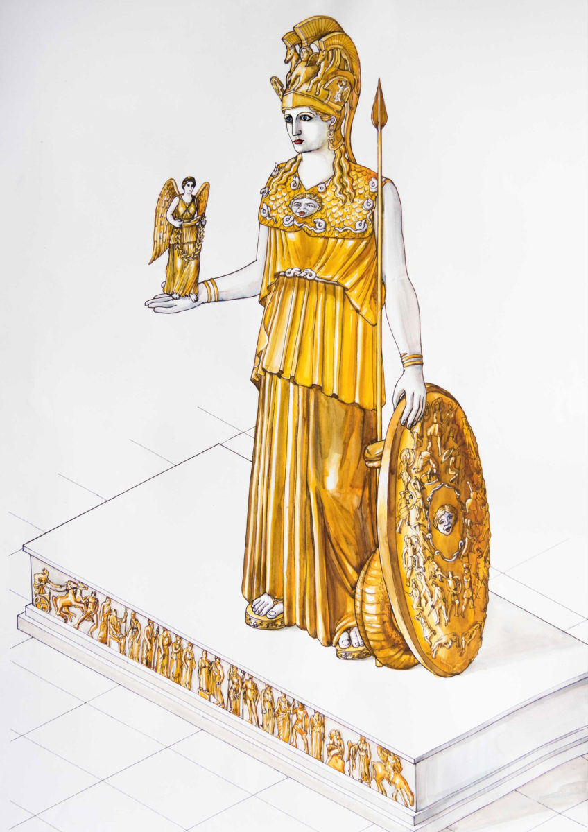 """""""The lost statue of Athena Parthenos"""" at the Acropolis Museum. (Credit: Acropolis Museum)"""