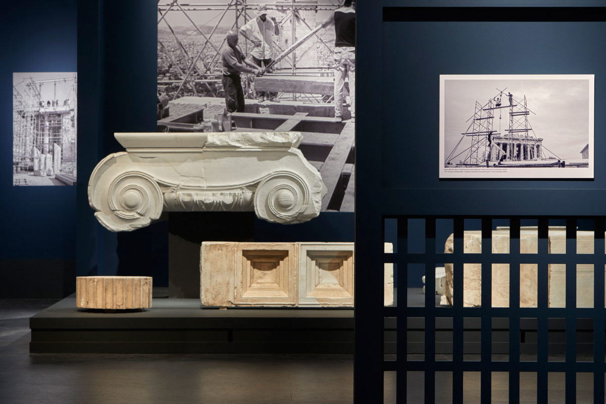 """View of the exhibition """"Chisel and memory. The contribution of marble craftsmanship to the restoration of the Acropolis monuments"""". (Credit: Acropolis Museum)"""