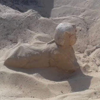The small royal statue of a sphinx in Tuna El-Gebel archaeological area in Minya governorate. Photo courtesy: Ministry of Antiquities.
