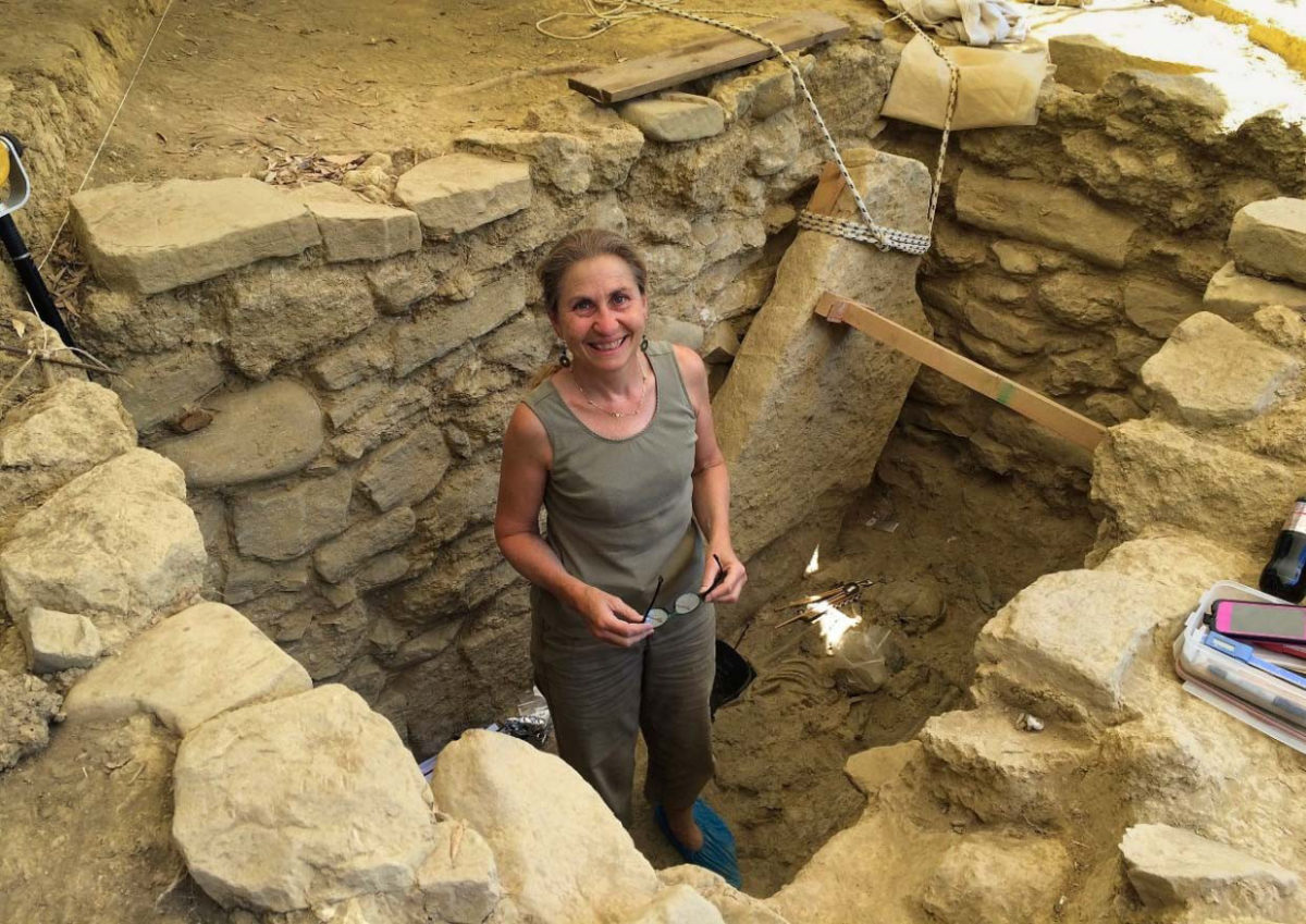 UC senior research associate Sharon Stocker works at the site of the Griffin Warrior in Pylos, Greece, in 2015. Photo/UC Classics
