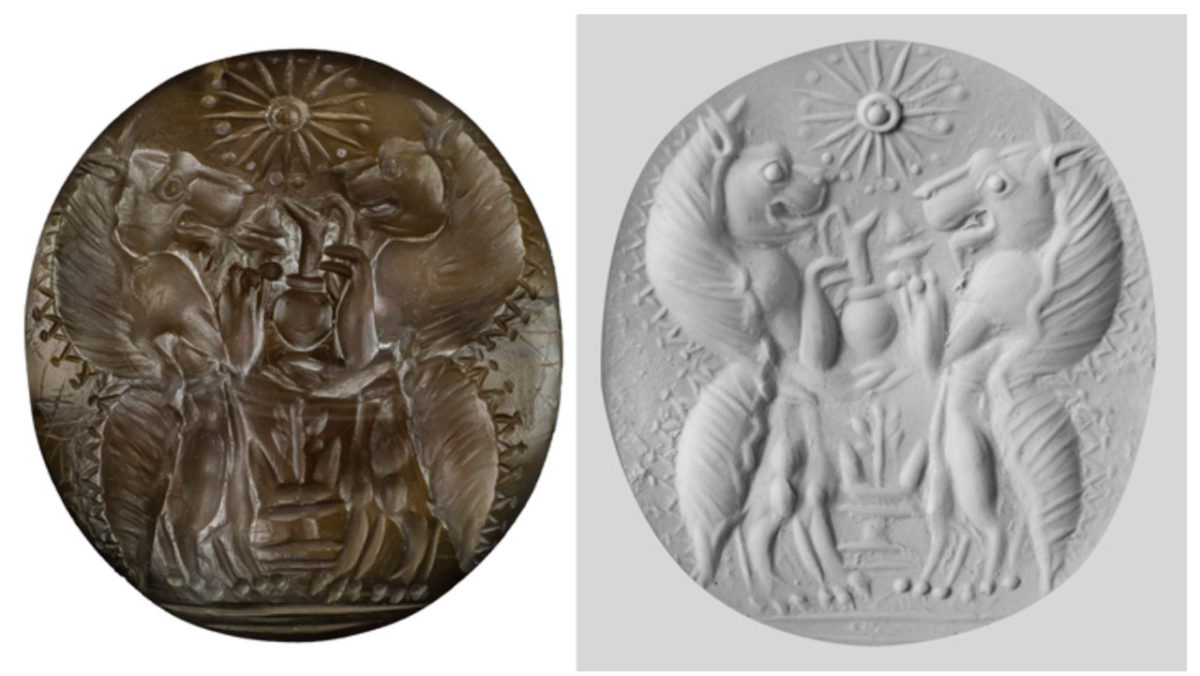 A seal made of the semiprecious stone carnelian from the family tombs at Pylos depicts an image of two genii, lionlike mythological creatures holding serving vessels and an incense burner over an altar and below a 16-pointed star. On the right is a putty impression of the piece. Photo/UC Classics