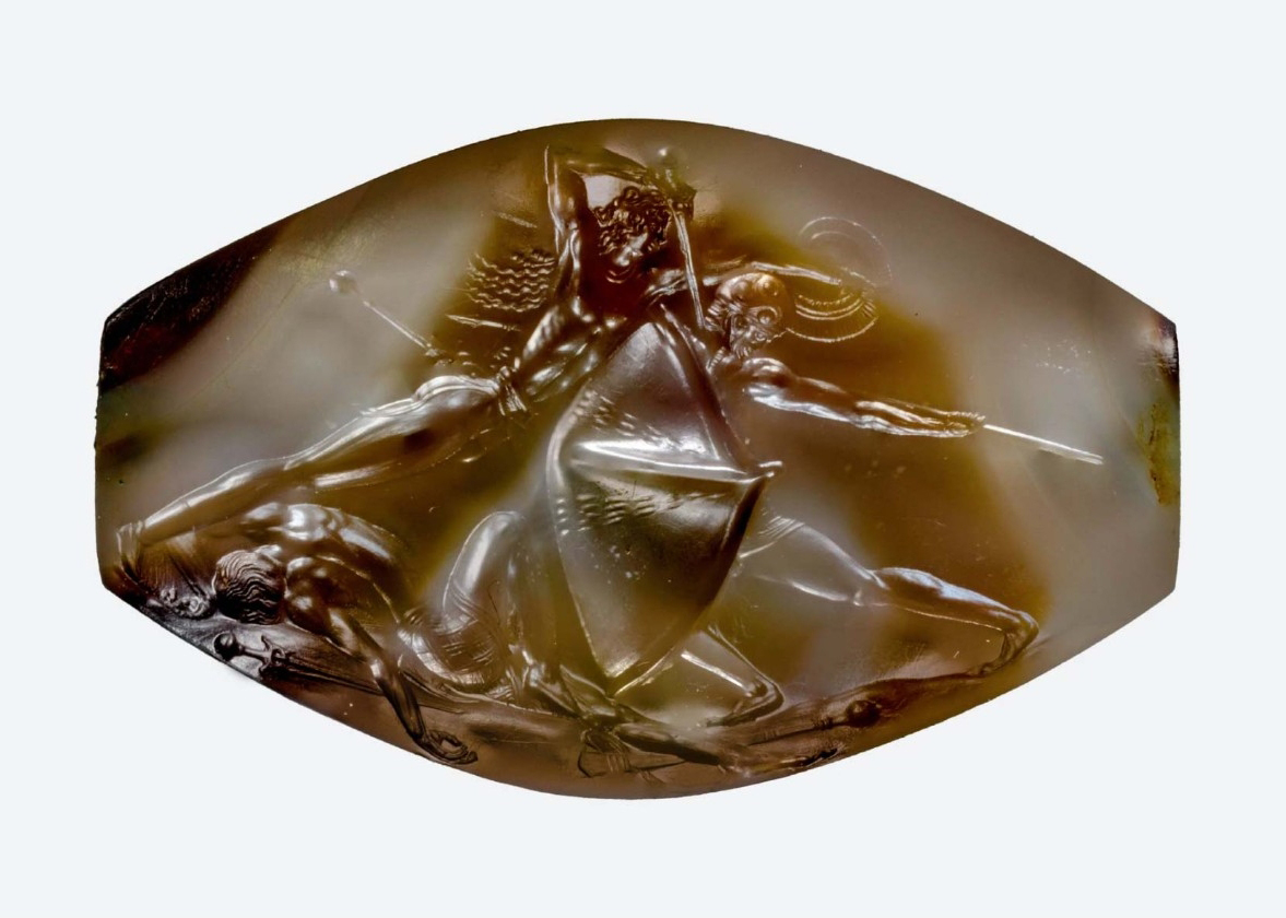 A tiny sealstone from the tomb of the Griffin Warrior depicts mortal combat in exquisite detail. Archaeology Magazine called the sealstone